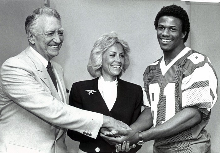 Owner of the Eagles Leonard Tose, daughter Susan Spencer, and First Round Pick; Kenny Jackson
